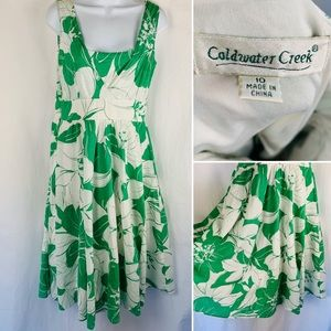 Cold Water Creek Sleeveless Cotton Green Floral 10